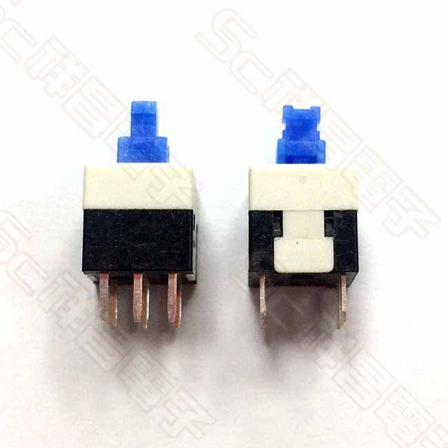 壓動開關 8mm 無段按鈕開關 無段壓動開關 (藍白色)