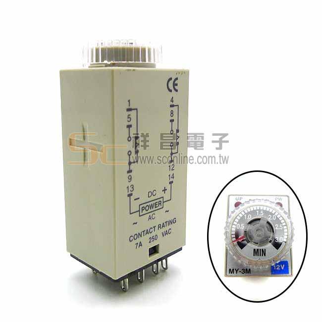 FOTEK 陽明 小型計時器/計時繼電器 MY-3M-2P DC12V