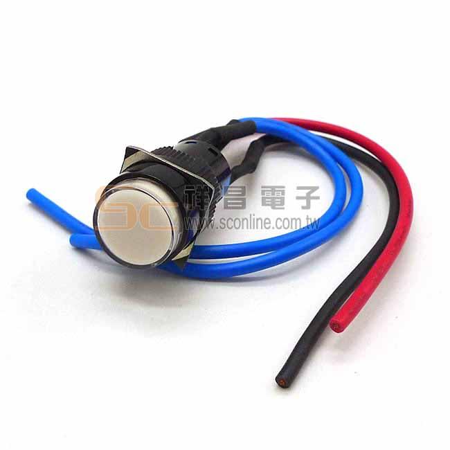 Ø16mm 照光防水押扣 12V LED 指示燈 (白色)