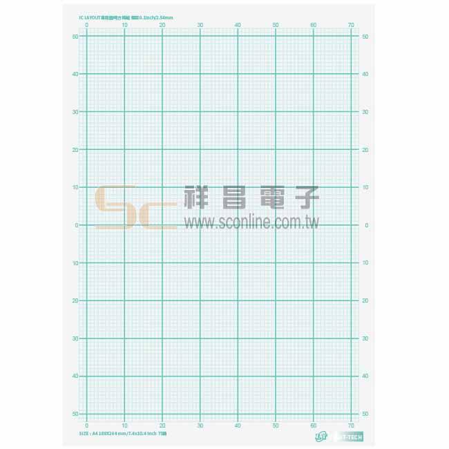0.1吋 IC LAYOUT 專用 透明 方格紙 (單張)