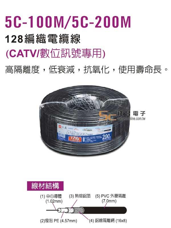【PX 大通】5C-200M 5C 128編高級電纜線/200M