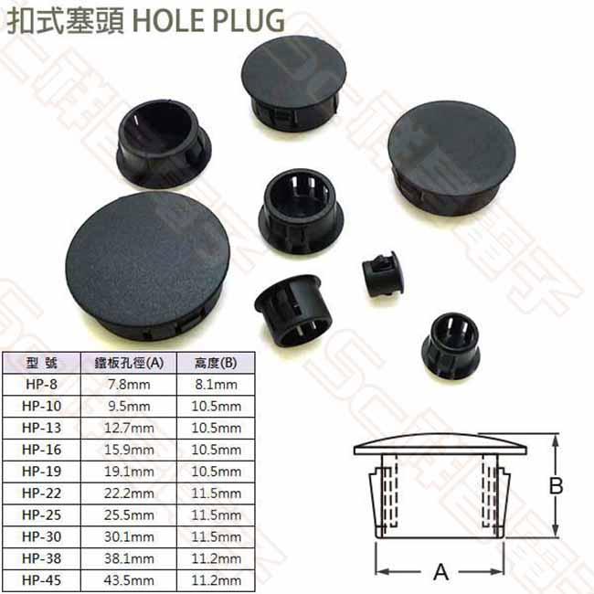 扣式塞頭(HP-22) 鐵板孔徑 : 22.2mm 高度 : 11.5mm (單顆)