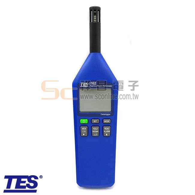 TES泰仕 TES-1162 高精度 溫度/溼度/大氣壓力計 USB介面 自動記錄