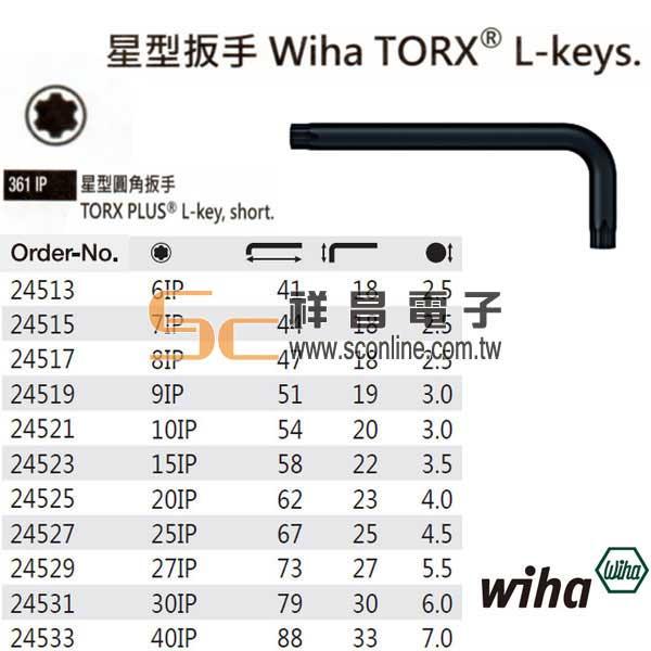 德國 Wiha 工具 24527 星型扳手 Wiha TORX L-keys 型 361IP系列 星型圓角扳手