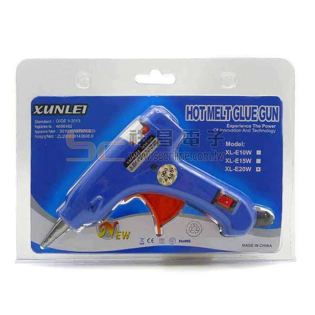 XuNLEl 迅雷 熱熔膠槍 附開關小膠槍 XL-E20W
