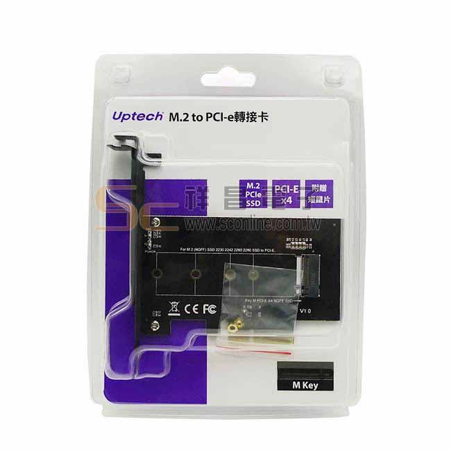Uptech 登昌恆 M.2 to PCI-e轉接卡 支援M.2卡 2230 2242 2260 2280