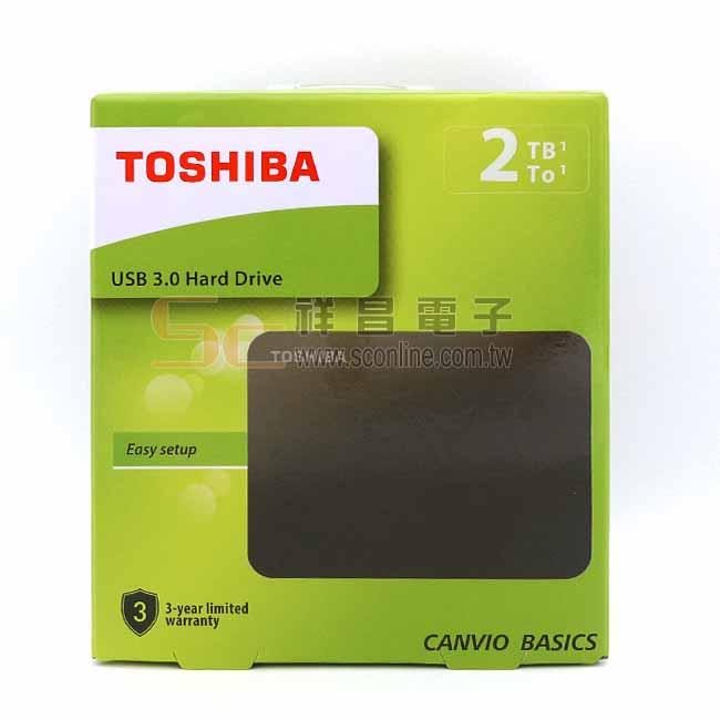 TOSHIBA 東芝 CANVIO BASICS A3 黑靚潮lll 2.5吋 2TB 外接行動硬碟 (黑色)
