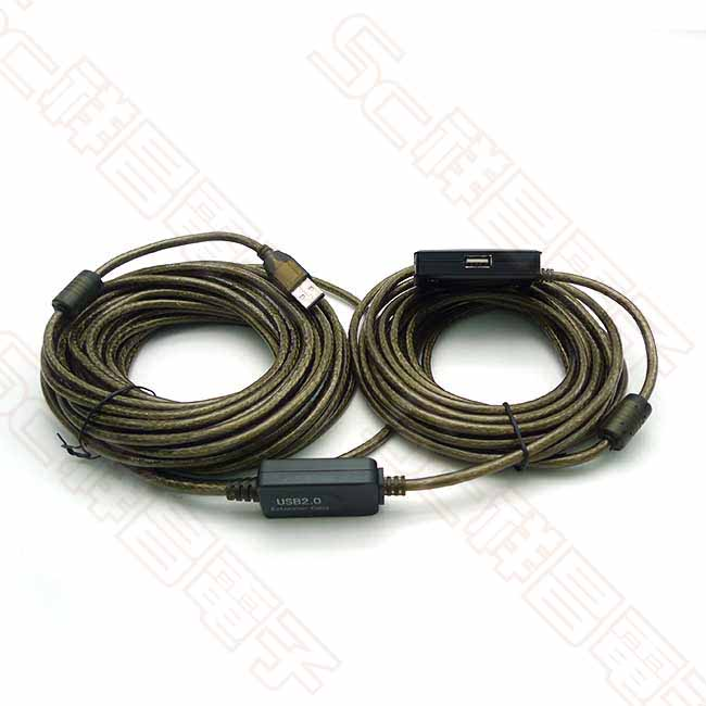 USB2.0 1對4 帶HUB 公對母 主動增益 USB延長線 15M