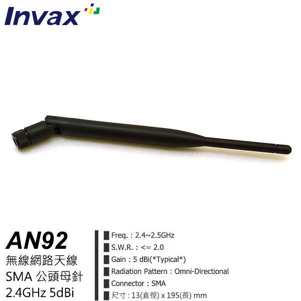 Invax AN92 無線網路天線 2.4G 5dBi SMA公頭母針 (黑色)