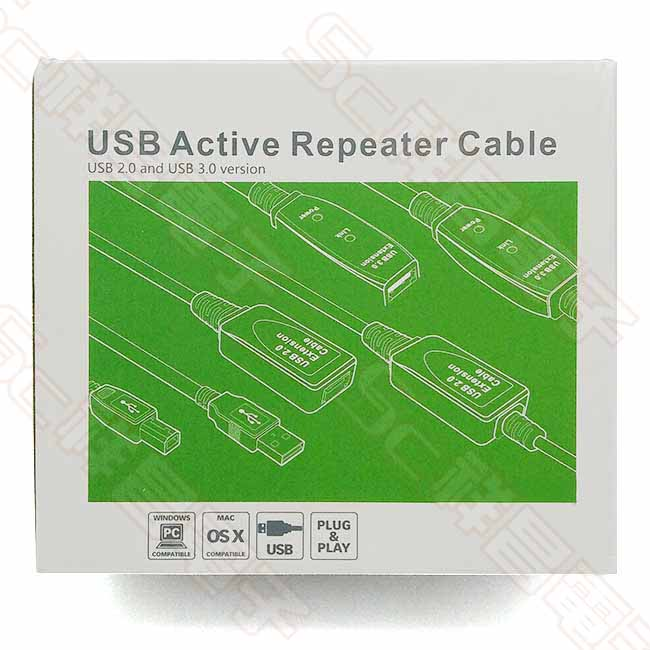 主動式 USB3.0 晶片型 訊號增強延長線 附電源 10M