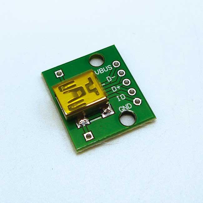 Mini 5P USB母座轉接板 (1378G) 適用Arduino