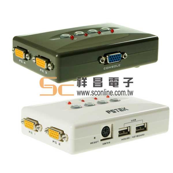 PSTEK 五角科技 CS-104U 4 PORT USB KVM 電腦切換器 (顏色隨機出貨)