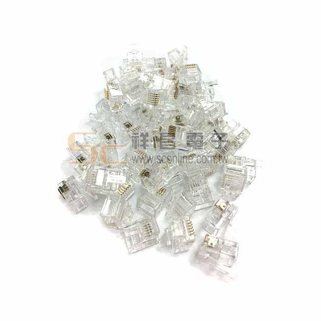 RJ-11 6P6C 電話接頭 網路接頭 高純度鍍金 透明水晶頭 (100入一包)