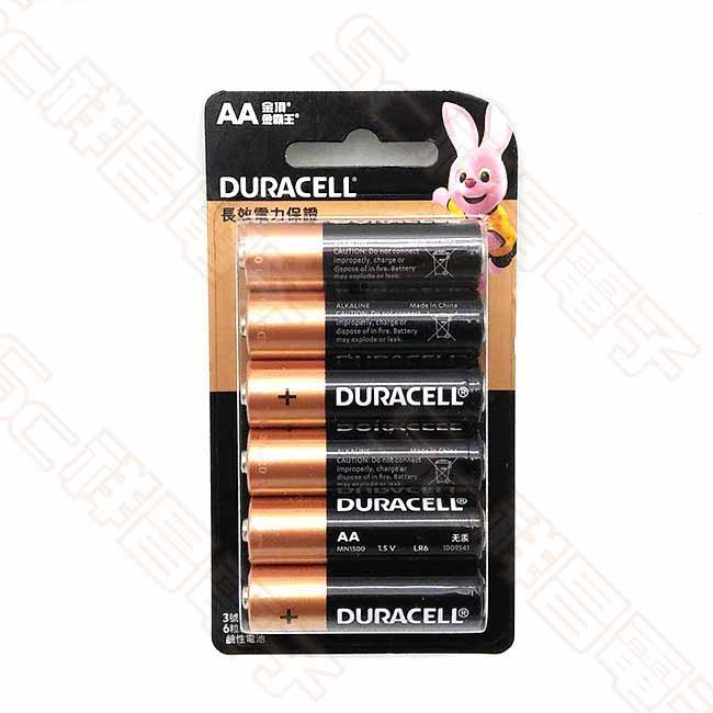 DURACELL 金頂 3號 鹼性電池 3號電池 AA電池 (6入/卡)