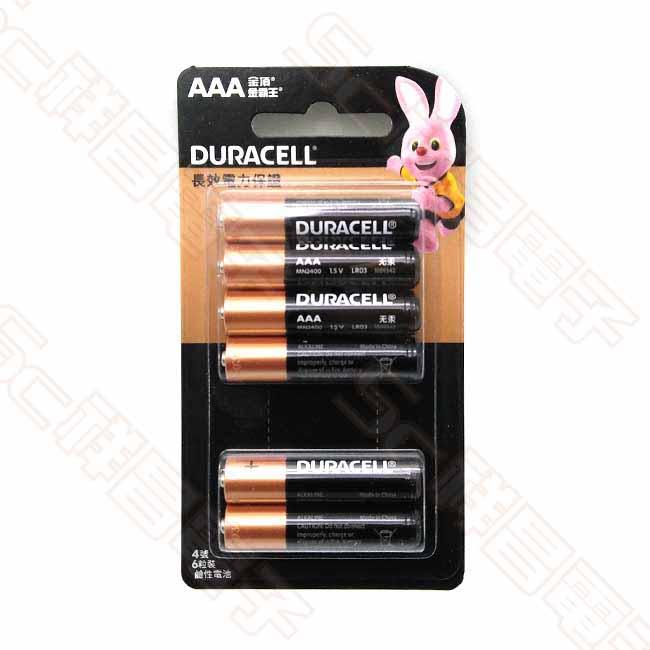 DURACELL 金頂 4號 鹼性電池 4號電池 AAA電池 (6入/卡)