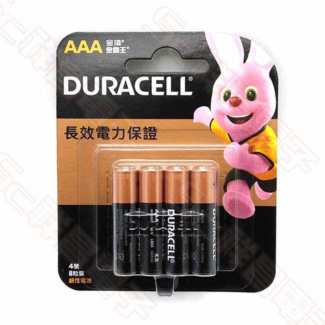 DURACELL 金頂 4號 鹼性電池 4號電池 AAA電池 (8入/卡)