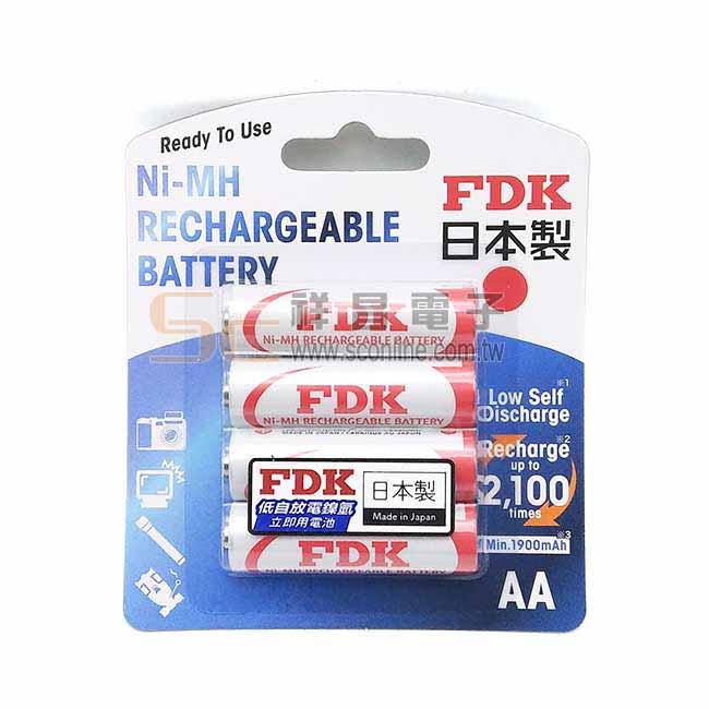日製 FDK 3號 低自放鎳氫電池 1900mA 4入