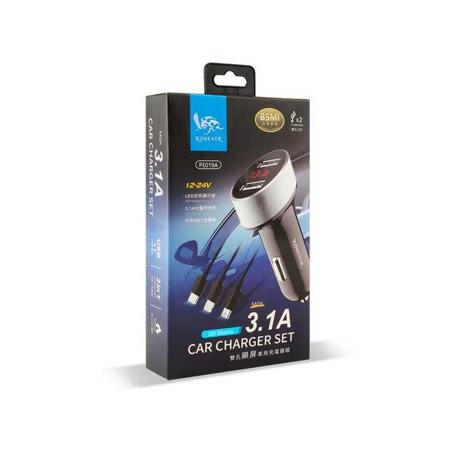 Ronever PE019A-1 3.1A LED鋁合金顯屏車用充電器 附 三合一充電線 銀色